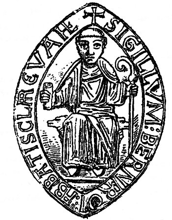 seal of saint Bernard, abbot of Clairvaux, 'la Claire Vallée'