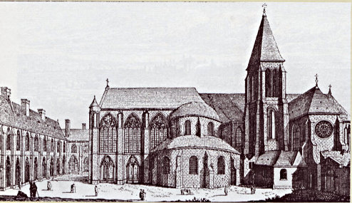 Sainte-Marie-du-Temple Chrurch in Paris; meeting place of the Chapter of the Province of France; engraving of Israel Sylvestre
