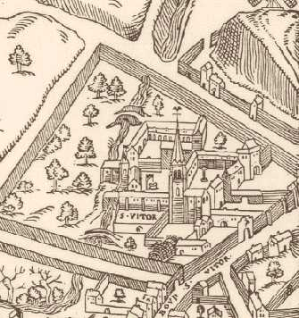 Abbaye de St-Victor-de-Paris; Plan de Paris par Turschet and Hoyau, circa 1552, copyright Paris Pages; source:http://historic-cities.huji.ac.il/